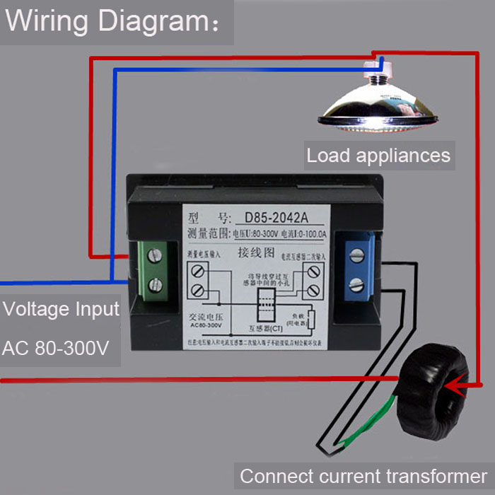 Wiring diagram volt ammeter AC 80 300V D85 2042A usefulldata com good ac volt ammeter wiring (black version) ac amp meter wiring diagram at crackthecode.co
