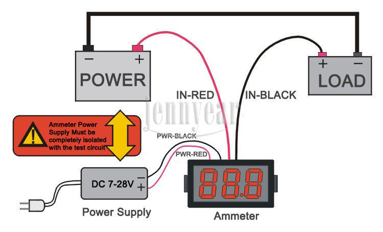 ammeter separated power suply schematic