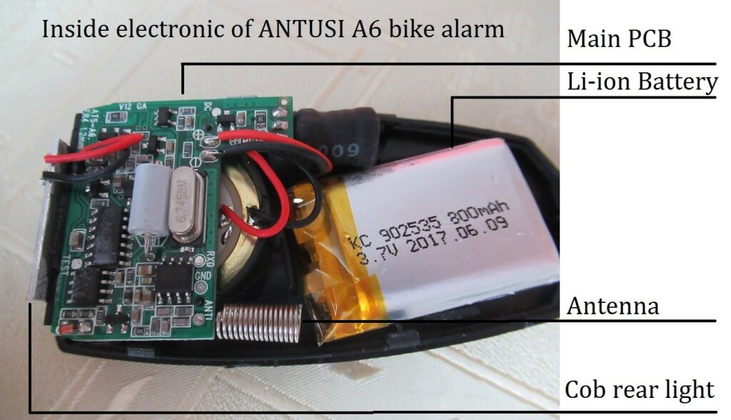 components inside Antusi A6 alarm