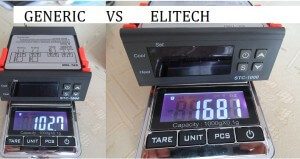 Generic have weight about 102.7g and Elitech temperature controller have 168g