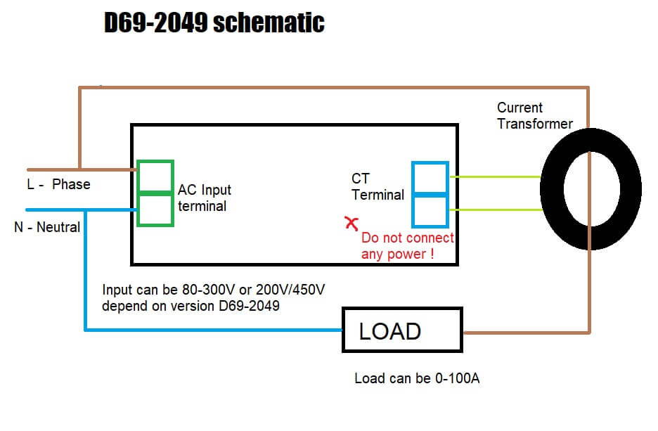 do not connect ac power in to blue terminal damage the meter ! connect the wiring  diagram