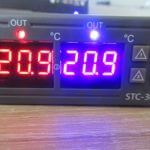 STC-3008 dual temperature controller with red blue display and two probes